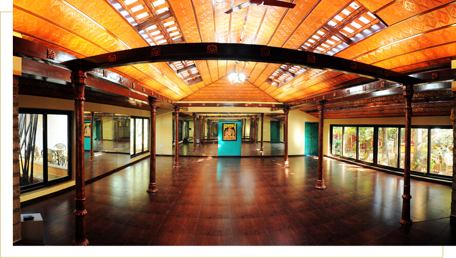 Our yoga teaching Hall built with neoclassical architecture midst of a sprawling garden in Malleshwaram, Bangalore