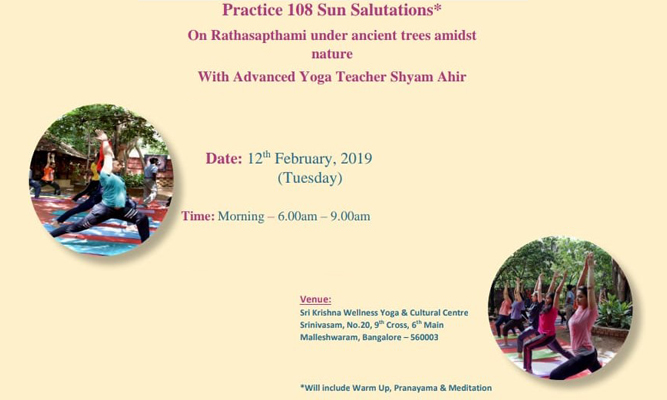 Practice 108 Sun Salutations* on Rathasapthami under ancient trees amidst nature with Advanced Yoga Teacher Shyam Ahir